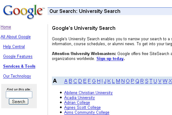Google Universities Search.