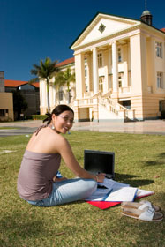 Woman Studying Outside.